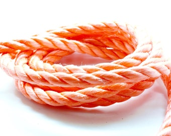 Lot of 2 meters of rope nylon 3 strands orange 10 mm
