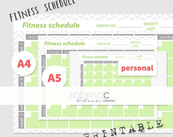 INSTANT DOWNLOAD Fitness schedule ENGLISH