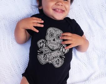 Skull and Crossbones Day of the Dead Baby Onesie, Dia De Los Muertos, 12 & 18 month