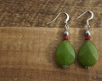 Beautiful earrings with drops of jade