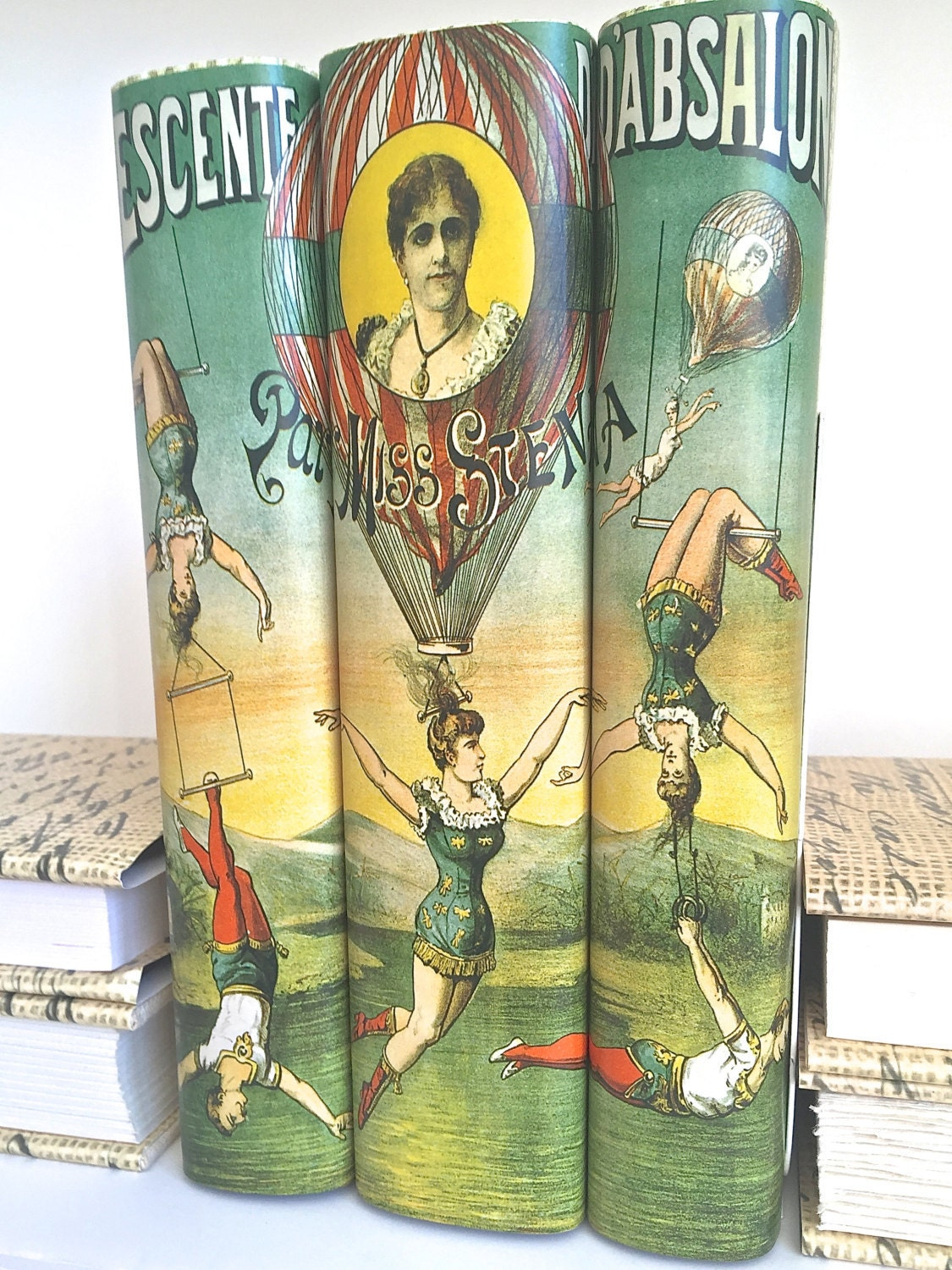 Vintage circus image decorative books book decor art vintage for Antique books for decoration