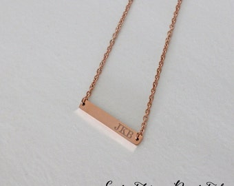 Nameplate Necklace Personalized Jewelry Initials Necklace Bar Necklace Chirstmas Gift Holiday Gift Bridesmaid Gift Wedding Gift Rose Gold