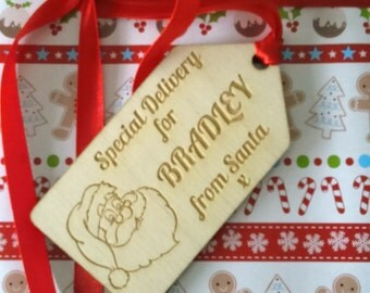 Personalised Wooden Gift Tag Engraved with Any Name SPECIAL DELIVERY From Santa