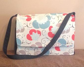 Handmade Blue, Grey, and Red Floral Messenger Bag, Large