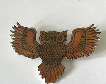 Hand drawn brown owl brooch.