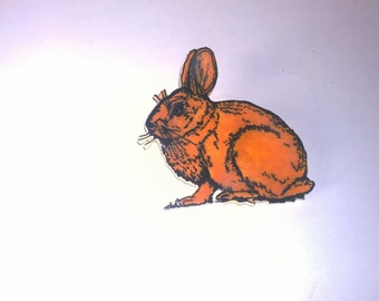 Hand drawn rabbit shrink plastic brooch