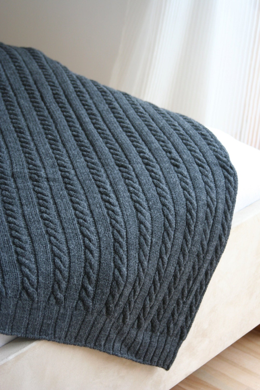 Merino Wool Knitting Patterns : Wool blanket pure merino wool gray knitted blanket gift
