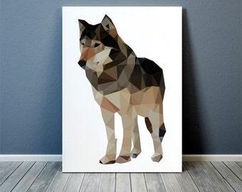 Wolf art Colorful decor Animal print Polygonal poster TOA60