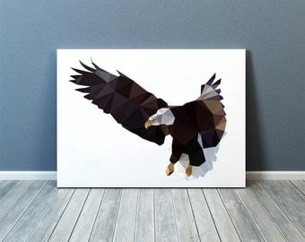 Bird of prey print Geometric decor Bald eagle poster Wall art TOA77