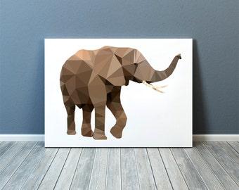 Animal poster Elephant art Nursery print Colorful decor TOA64
