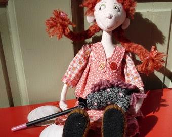 "Cloth Art Doll ""Pipi"" OOAK"