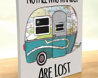Travel Trailer Boler map art block print. Customize state map art. Boler trailer art print. Not all who wander are lost. Gift for camper.