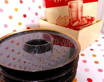 Hi Snack Plates Black Glitter Sparkle Engraved The Drells Vintage