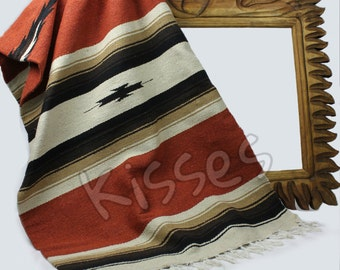 LARGE Diamond Serape Southwestern Mexican Blanket Horse Saddle Yoga Sarape Rug - Rust