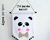 The panda Banner, Canvas wall banner, Banner, Pennant, Panda