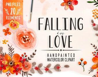 Watercolor Fall Flower Clipart, fall Wedding floral Clip art, Floral Bouquet Clipart, fall flowers clip art, Watercolour fall Clip Art