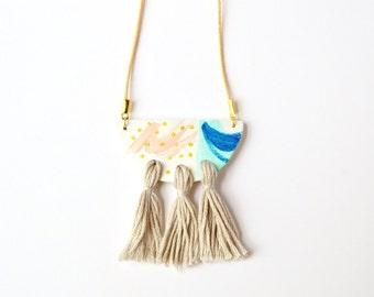 Boho tassel necklace Ceramic pendant Abstract clay jewellery Trending statement jewelry