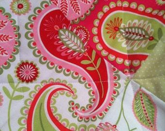 Baby Girl Quilt, Girl Crib Bedding, Girl Baby Blanket, Girl nursery, Michael Miller Gypsy, Modern Baby Quilt, pink, red, lime green, minky