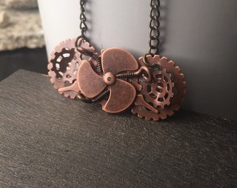 Copper Steampunk Jewelry - Propeller Steampunk Necklace - Gear Necklace