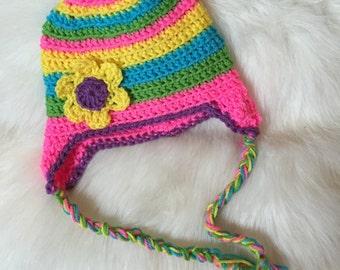 Crochet hat with ear flaps