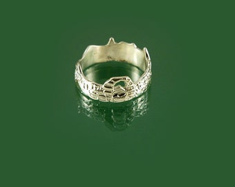 Landscape scene ring in 925 sterling silver