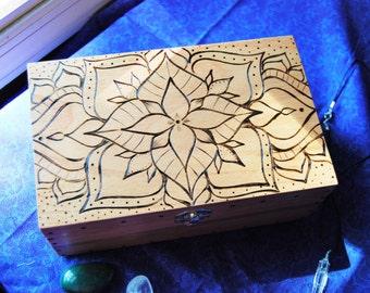 Wood Mandala Box, Trinket Box, Bohemian Home Decor, Wood Burned Mandala Art