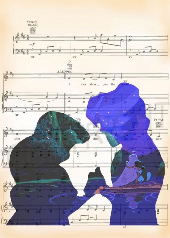 Aladdin and Princess Jasmine Disney Art Print