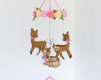 Woodland creatures deer baby mobile with pink roses and butterflies, brown and pink. Ready to ship.