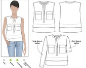 Edith Top - Sizes 10, 12, 14 - Women's top PDF Sewing Pattern by Style Arc - Sewing Project - Digital Pattern