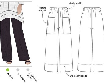 Daisy Designer Pant // Sizes 10, 12 & 14 // PDF Women's Pant Sewing Pattern for Instant Download