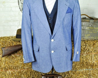 44S / 44 Short Light Weight Blue Cotton Blazer -- American Union Made Never Before Worn