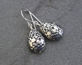 Balinese Sterling Silver Teardrop Dangle Earrings, Bali Beads, Bali Silver Earrings