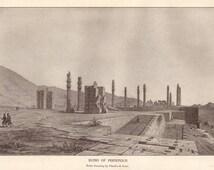 Ruins of Persepolis original 1916 archaeology print - Wall decor, Iran, art print - 99 years old antique encyclopedia illustration (B005)