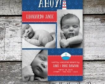 Custom Birth Announcement Photo Card - Digital - Nautical