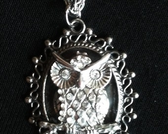 Owl Pendant on Silver Tone Chain FREE SHIPPING