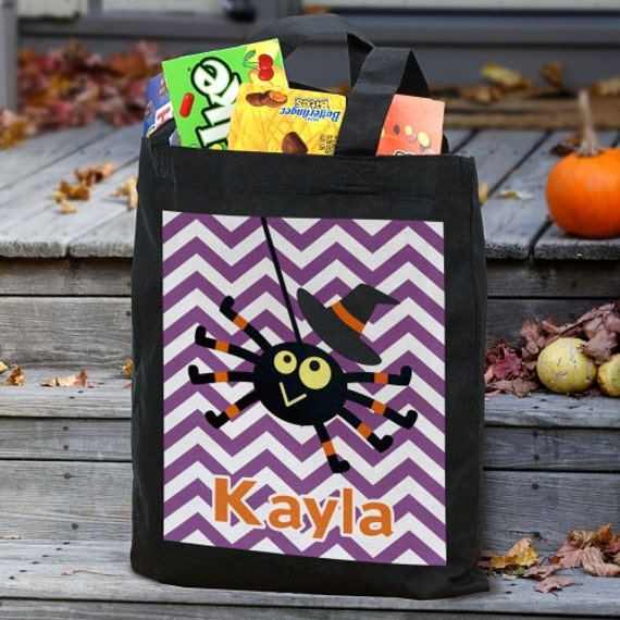 Halloween Spider Black Tote Bag, Halloween Tote, Personalized Trick or Treat Bag