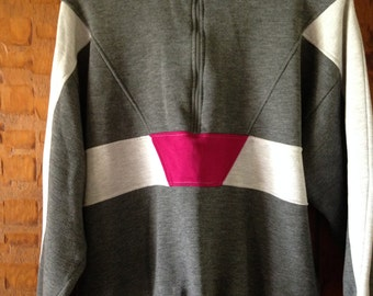 Vintage Gray and Pink 80's Color Block Zippered Sweatshirt.