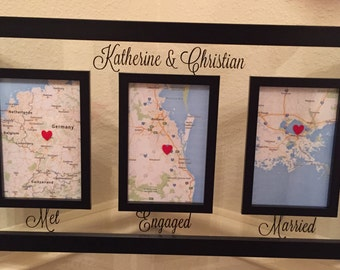Love Story Map - Met Engaged Married Frame