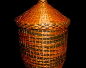 sale lg tribal african basket with lid made of by ethosethnicart. Black Bedroom Furniture Sets. Home Design Ideas
