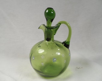 Green Glass Decanter-Green Handmade Cruet With Enamled Decor