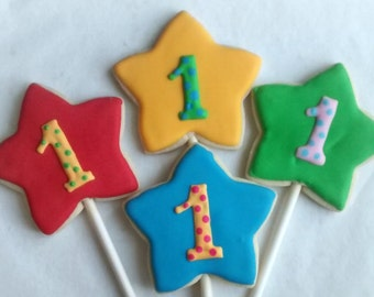Stars with numbers sugar large or mini cookies ,birthday  party  ,cookies decorated with royal icing