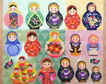 Russian Matryoshka doll stickers, zakka stickers, kawaii stickers, wooden stacking doll, cute stickers, planner stickers Matryoshka stickers
