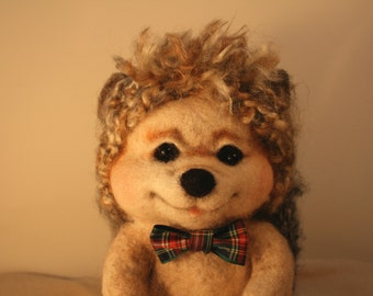 Needle Felted Hedgehog (Boy with bowtie)