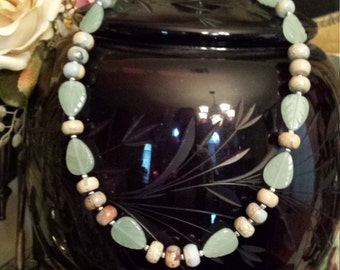 One strand natural opal and jade leaf necklace