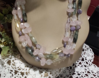 three strand rose quart and purple jasper necklace