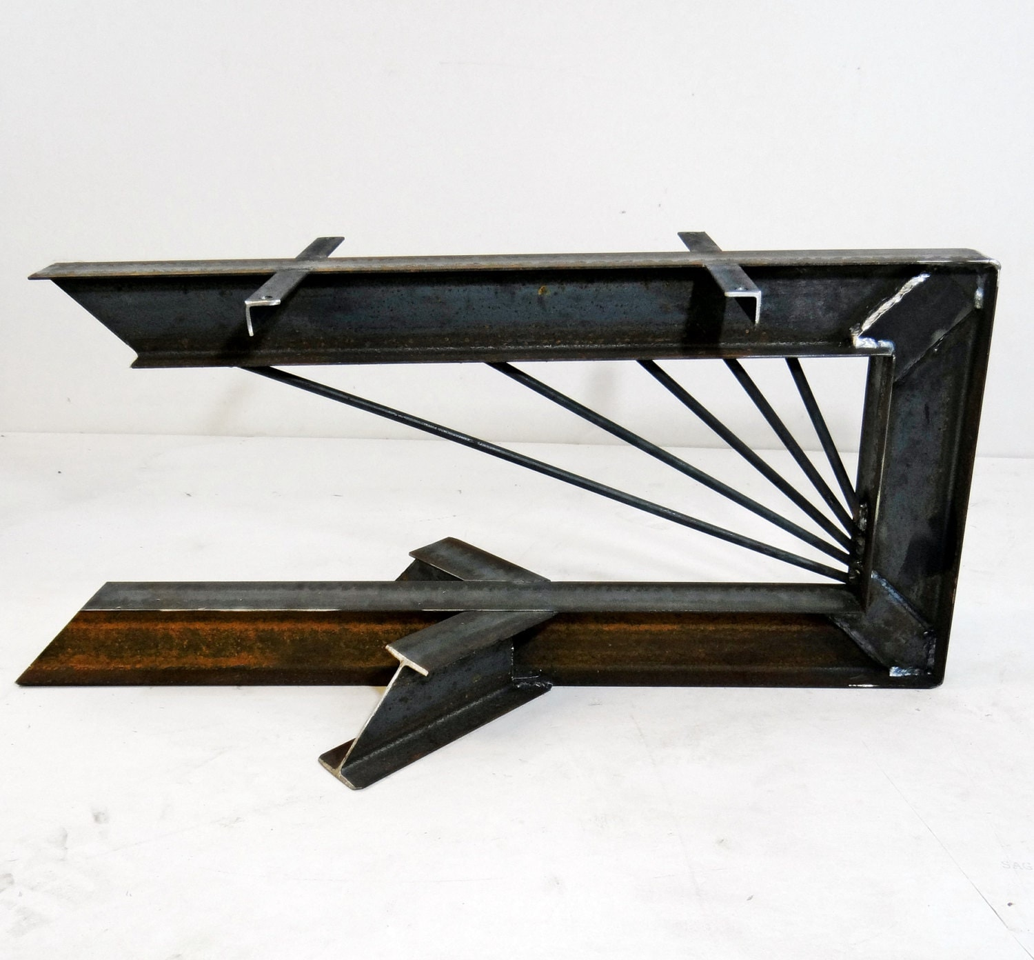 Cantilevered Steel I Beam Table Legs By Timberforgewoodworks