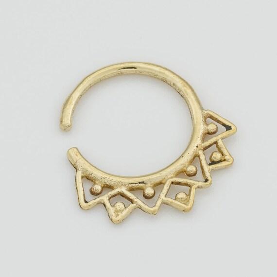 Tribal Septum Ring for pierced nose. septum piercing. brass septum ring. tribal gold septum ring. tribal septum. gold septum. septum jewelry