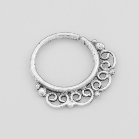 Indian style Sterling silver Septum Ring. Indian septum ring. tribal septum ring. septum piercing. silver septum. nose jewelry.