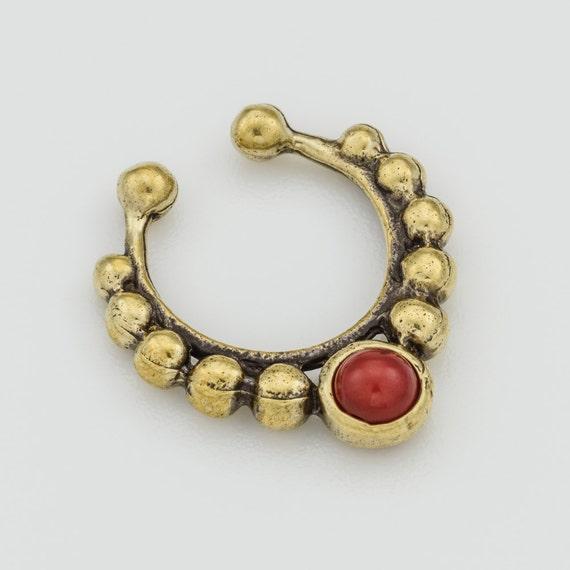 Turquoise Septum clip. fake septum ring. septum cuff. septum ring. turquoise septum ring. tribal septum. faux septum. fake septum piercing.