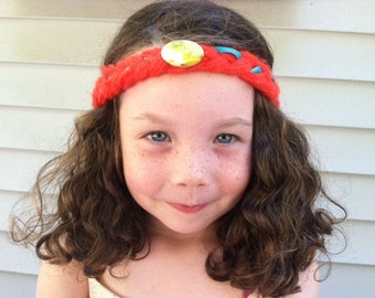 Hippie Headband, Girls Headband, Brave Party Favors, Merida party favors, Orange Headband, Yarn headband, Toddler headband, Kids headband